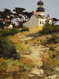 Pt Pinos Lighthouse by Brian Blood Oil ~ 16 x 12