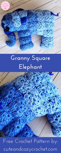 Granny Square Elephant | Free Crochet Pattern | Granny Squares | Amigurumi | Stuffed Animal | Mary's Cute & Cozy Crochet | Easy | Beginner | Fun Project | Baby Shower | Birthday | Kids | Toddler | Baby