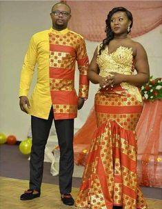 pictures of african traditional wedding dresses Couples African Outfits, African Clothing For Men, African Shirts, African Dresses For Women, African Print Dresses, African Print Fashion, Couple Outfits, African Women, African Wedding Attire
