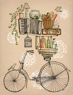 Cute. Bike stacked with obstacles. Starts off with a bird on the wheel. Then books on the seat, and a shelf full with things. Then a much longer shelf comes on top of that with things. Then a tree branch on a piano, and then there's a hooked birdcage. (Maybe the cage is the bird's!)