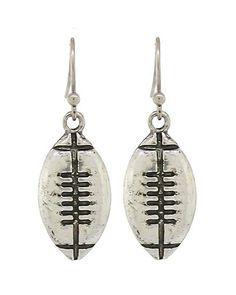 """Worn Silver tone Football dangle earrings. WIDTH X LENGTH : 3/8"""" X 1 1/8"""""""