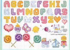graficos ponto cruz alfabeto - Pesquisa Google