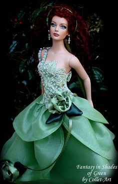 "TONNER TYLER WENTWORTH OOAK GOWN DRESS ""FANTASY IN SHADES OF GREEN"" BY COLLET-ART 