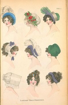 Head Dresses, September 1803, Fashions of London & Paris