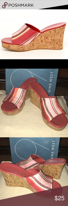 Nine West LIVABLEO Wedges Red, pink, burgundy and white fabric slip on shoe..approx 3 1/2 cork wedge heel.. gently used condition..nonsmoking home.. will be shipped in original box 📦 Nine West Shoes Wedges