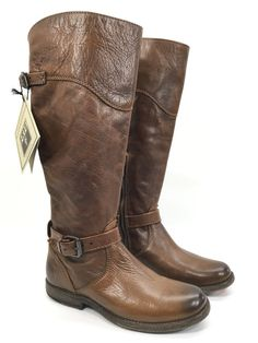 $398 Frye Phillip Cognac Brown Vintage Distressed Leather Riding Boots Womans 6   | eBay