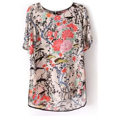 SheIn(sheinside) Beige Short Sleeve Floral Print Zip Back Blouse (17 AUD) ❤ liked on Polyvore featuring tops, blouses, sheinside, t-shirts, multi, short sleeve chiffon blouse, floral print blouse, pink chiffon blouse, pink blouse and embellished tops