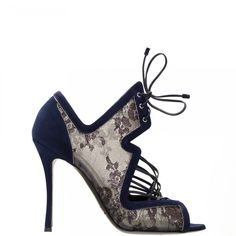 Black lace and navy suede lace-up sandal.