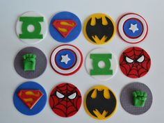 DC Fondant Toppers, Marvel Fondant Cupcake, Avengers Fondant Cupcake Toppers, Avengers cake, DC cake by AmoreConfections on Etsy Diy Cake Topper, Fondant Cupcake Toppers, Avengers, Avenger Cake, Superhero Cake, Fondant Figures, Halloween Cookies, 4th Birthday, Birthday Cake