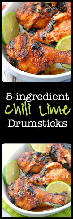 Quick and easy: chili, lime, garlic, honey. Keep it simple, but make it delicious! These Chili Lime Drumsticks make a quick and easy weeknight meal served with a salad. This recipe uses ingredients that you'll have on hand. Paleo Recipes, Mexican Food Recipes, Cooking Recipes, Smoker Recipes, Grilling Recipes, Easy Weeknight Meals, Easy Meals, Paleo Chili, Chili Lime