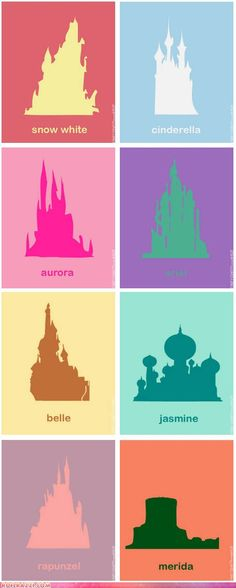 Castles of Disney Princesses. Could print for art in girls room.
