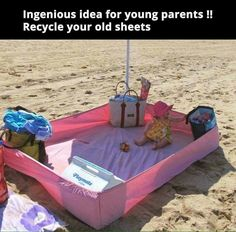 Cute Way to Take The Baby to the Beach!!! Bebe'!!! Great idea!!!