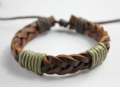 men or women brown knit leather bracelet with cord by Showrist