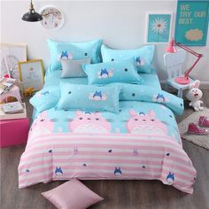 Single Queen King Bed Set Pillowcase Quilt Cover Cotton Blend Lusr Totoro tq #Unbranded