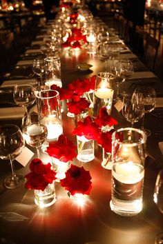 Red table decorations romantic candlelight red roses red black and white wedding table decorations Spring Wedding Colors, Wedding Table Flowers, Wedding Table Centerpieces, Diy Wedding Decorations, Wedding Themes, Wedding Ideas, Candle Centerpieces, Centerpiece Ideas, Valentine Decorations