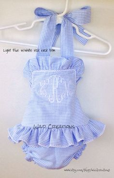 Girls One piece monogram ruffle swimsuit Boutique by waidcreations #toddlerswimsuits
