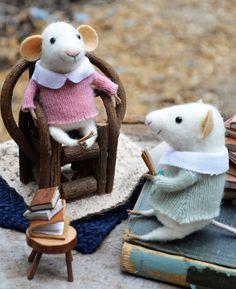 School children felt mice from Felting Dreams on Etsy