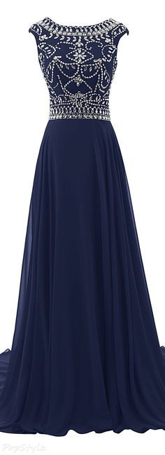 Charming Prom Dress,Chiffon Prom Dress with Beaded,Long Prom