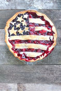 8 Red White & Blue desserts you can make at home | including this American Flag Pie by The Winthrop Chronicles | on TheCakeBlog.com