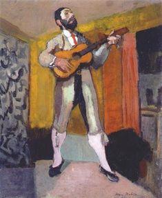Guitar Player - Matisse, Henri - Fauvism - Oil on canvas - Genre - TerminArtors Henri Matisse, Matisse Kunst, Matisse Art, Pablo Picasso, Monet, Matisse Paintings, Post Impressionism, Art Moderne, French Artists