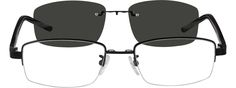 5816 Metal Alloy Half Rim Frame with Polarized Magnetic Snap-on Sunlens and Acetate Temples-OOgKcFW1