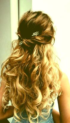 Image result for prom hair half up half down