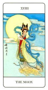 Tarot Card: The Moon(Chinese deck) . The Moon Tarot Card, Sweet Moon, I Ching, Inner Demons, Tarot Decks, Archetypes, Numerology, Tarot Cards, Wiccan