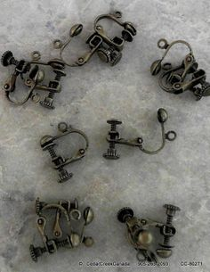 Brass Clip-On Earrings              Dark Antique Bronze Colour                      CC-80271