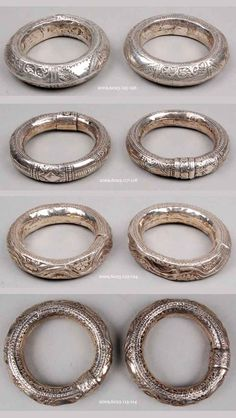 Oman   Four pairs of elbow bracelets; silver, they are hollow with small stones inside so that they rattle with the movement of the wearer   ca. 1950s // ©British Museum.