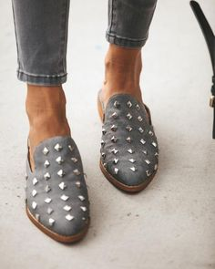 b32d90aa556 Get stylish in the Stuart Studded Loafer! These faux suede loafers are made  with the