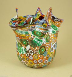 NEW MURANO MILLEFIORI AMAZING VASE ITALIAN ART GLASS MADE IN VENICE ebay.com  iandrravel