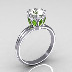 Modern French Antique 18K White Gold Marquise Peridot 1.0 CT Round Zirconia Solitaire Ring R90-18KWGCZP. $1,149.00, via Etsy.