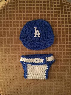 c247eba26aa Crochet LA Dodgers Hat and Diaper Cover Photo Prop Set - Newborn to 3 months