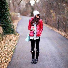 Jaqueta vermelha fica lindo com tudo