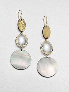 Ippolita Clear Quartz & Shell Triple Drop Earrings