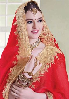 189919 Beige and Brown, Red and Maroon  color family Embroidered Sarees, Party Wear Sarees in Faux Chiffon, Tissue fabric with Border, Machine Embroidery, Patch, Zari work   with matching unstitched blouse.