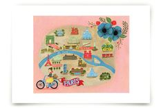 Map of Paris Art Prints by angel b lee at minted.com