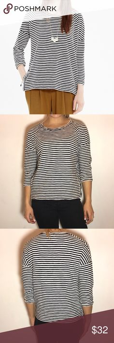 Madewell Striped Side-Button Sweatshirt Madewell Side-Button Sweatshirt in Stripe.  -Slightly structured fit. -Cotton. -Excellent condition.  NO Trades. Please make all offers through offer button. Madewell Tops