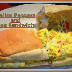 This is a very simple sandwich  served in most all the Italian eatery's we have in town. If you love peppers & eggs this is sure to please your taste buds. The star of this sandwich is of course the peppers.   I really want to taste the peppers so I normally don't add any onions just some garlic & cheese to this sandwich. This is a comfort food to meal and one satisfying sandwich served up for breakfast, lunch or dinner.