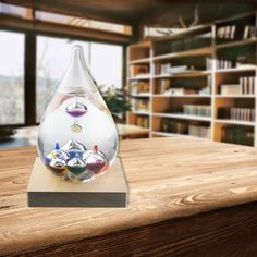 Colorful Galileo Thermometer Weather Temperature Forecast Storm Glass Bottle Christmas Gift