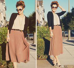 Tan peach pleated midi skirt, cream top, black cardigan and belt, patterned wedges