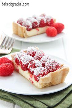 Cheesecake tart with fresh raspberries recipe from @bakedbyrachel