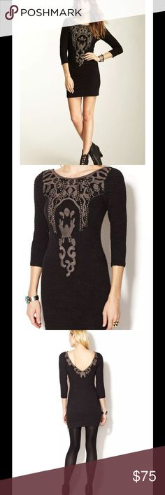 """💕HP💕FREE PEOPLE STUDDED BODYCON BLACK DRESS $165 FREE PEOPLE EMBELLISHED STUDS BODYCON EMBROIDERED BLACK DRESS SZ M Size:  M  Color:  Black combo (See pictures)   Cute yet Stylish!   Beautiful on person!  Measurement:  (All measurements are approximately)  Shoulder to hem:  32.5""""  Bust:  32"""" (fabric has some stretch)   Sleeve length:  17"""" (from Shoulder to hem line) Free People Dresses"""
