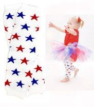 #55 Red & blue stars patriotic leg warmers for boy or girl by My Little Legs
