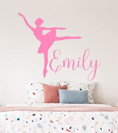 Name Wall Decals Ballerina Wall Decal Girl Nursery Wall Decal Name Wall Decals, Name Stickers, Nursery Wall Decals, Nursery Art, Girl Nursery, Vinyl Decals, Vinyl Store, Ballerina Art, Textured Walls