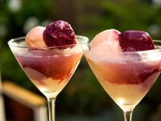 Get Peach and Vanilla Gelato and Raspberry Sorbetto Cocktail Recipe from Cooking Channel