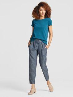 215ce3e0c19 Hemp Organic Cotton Chambray Ankle Pant