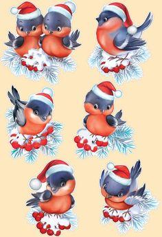 Decoupage in Perm - dekoration Christmas Rock, Christmas Scenes, Christmas Animals, Christmas Pictures, Vintage Christmas, Christmas Crafts, Christmas Decorations, Christmas Ornaments, Illustration Noel