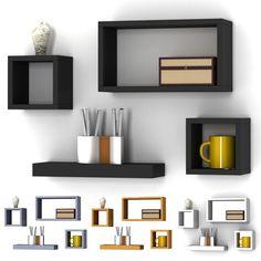 Lokken 3 Cube Square Floating Wooden Wall Storage Display Shelves Photo Cd Shelf