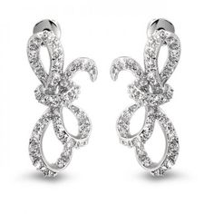 Ribbon Bow Bridal Stud Earrings Pave CZ Sideways Silver Tone